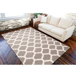 Hand-woven Beige Caroni Wool Rug (5' x 8')