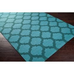 Hand-woven 'Caroni' Blue Wool Rug (8' x 11') - Thumbnail 1