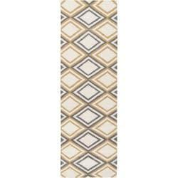 Hand-woven Caroni 'Brown' Wool Area Rug - 2'6 x 8' - Thumbnail 0