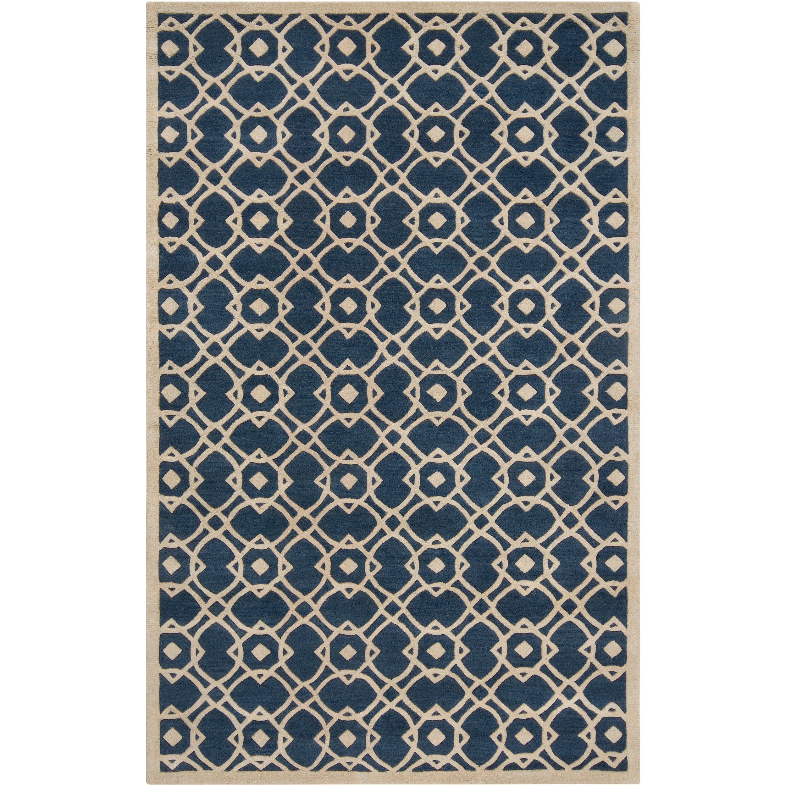 Hand-tufted 'Grandeur' Blue New Zealand Wool Rug (5' x 8') - Thumbnail 0