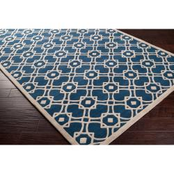 Hand-tufted 'Grandeur' Blue New Zealand Wool Rug (5' x 8') - Thumbnail 1