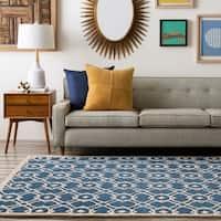Hand-tufted 'Grandeur' Blue New Zealand Wool Area Rug - 5' x 8'