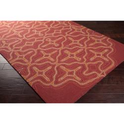 Hand-hooked 'Yarra' Orange Indoor/Outdoor Geometric Rug (9' x 12')