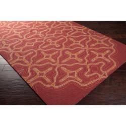 Hand-hooked 'Yarra' Orange Indoor/Outdoor Geometric Rug (5' x 8')