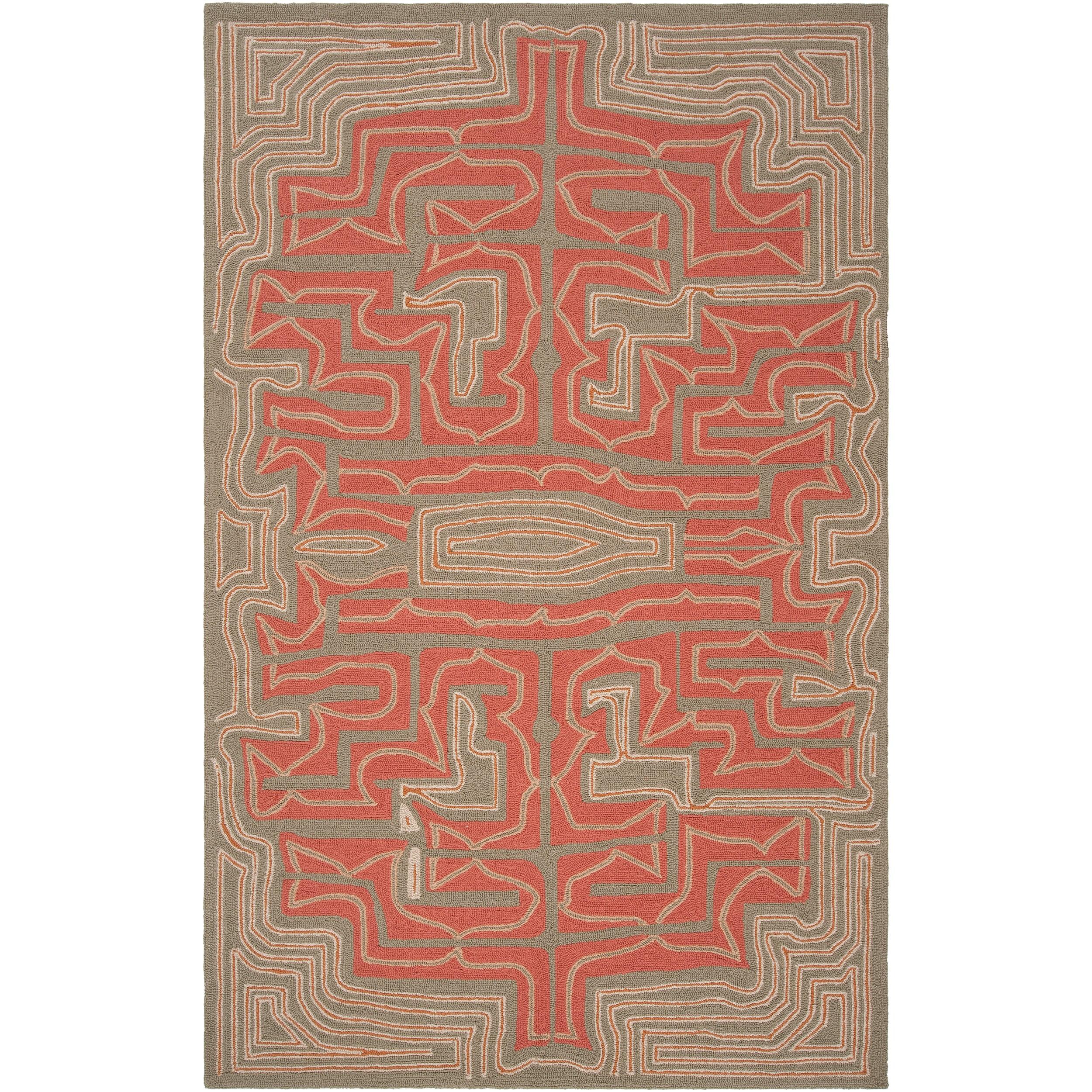 Hand-hooked 'Yarra' Grey Indoor/Outdoor Geometric Rug (5' x 8')