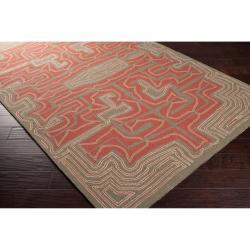 Hand-hooked 'Yarra' Grey Indoor/Outdoor Geometric Rug (5' x 8') - Thumbnail 1