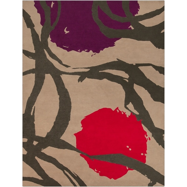 Hand-tufted 'Diego Martin' Purple Floral Wool Area Rug - 9' x 12'