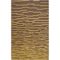 Hand-tufted 'Diego Martin' Brown Geometric Plush Wool Area Rug (9' x 12') - Thumbnail 0
