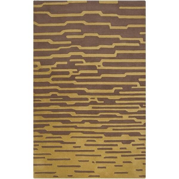 Hand-tufted 'Diego Martin' Brown Geometric Plush Wool Area Rug - 9' x 12'