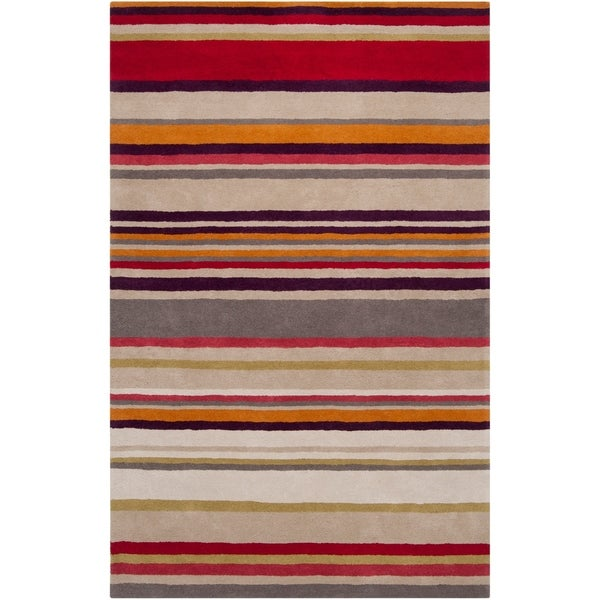 Hand Tufted X27 Go Martin Purple Striped Wool Area
