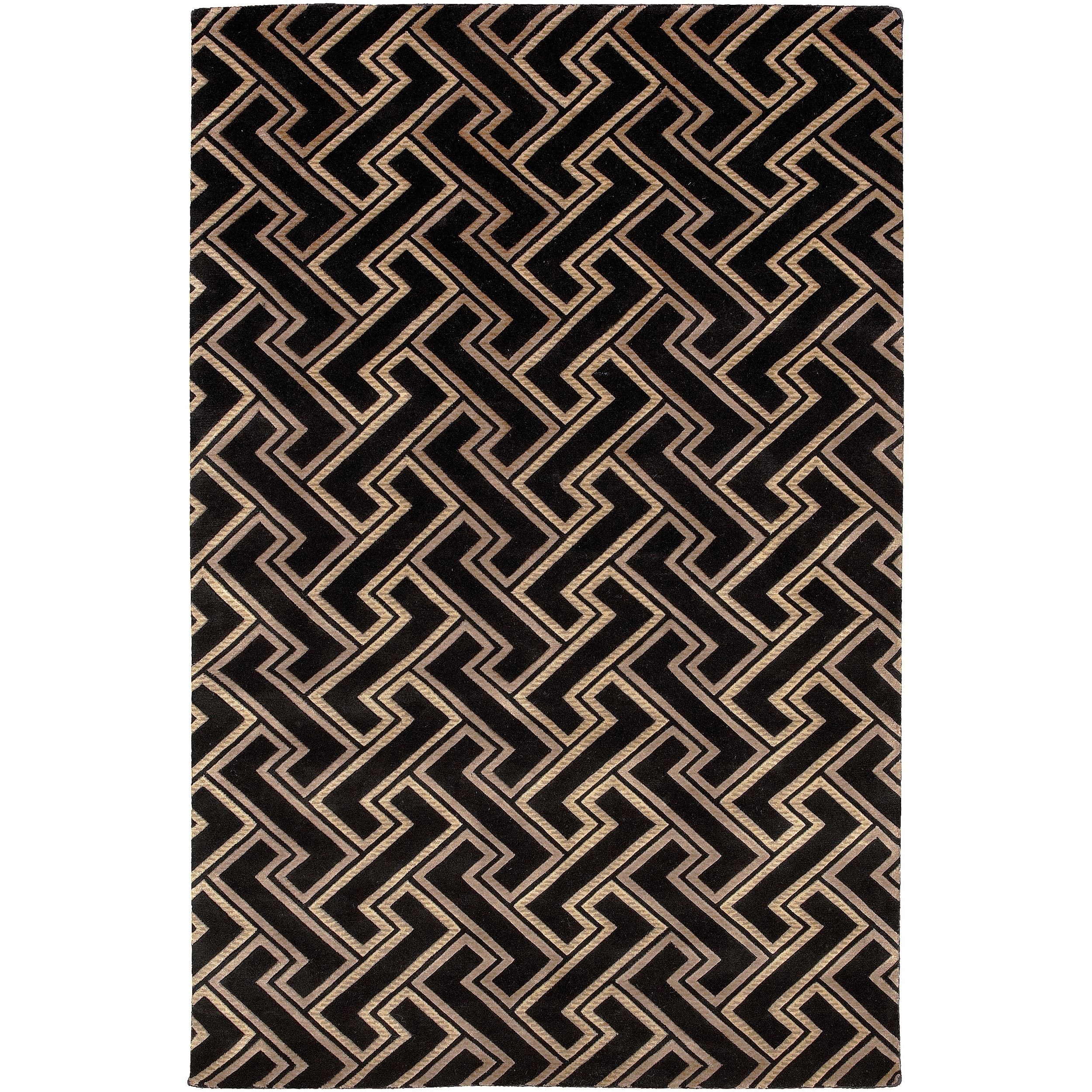 Hand-knotted 'Diego Martin' Black Basketweave Wool Rug (5' x 8')