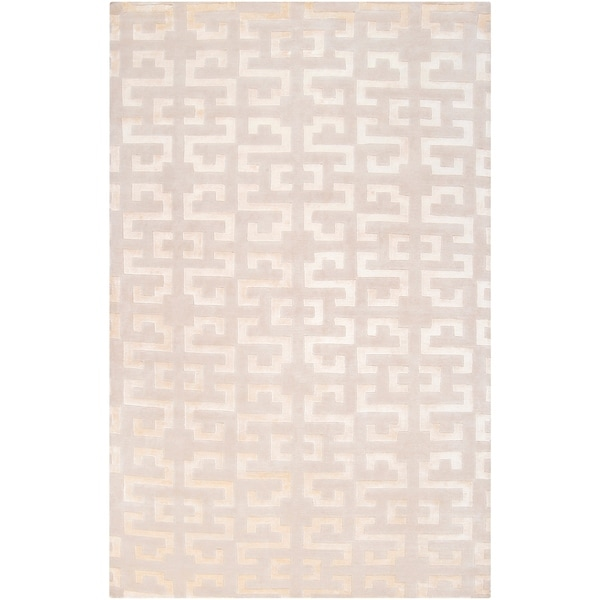 Hand-knotted 'Diego Martin' Tan Wool Area Rug - 5' x 8'