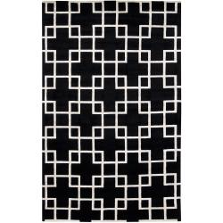 Hand-knotted 'Diego Martin' Black Geometric Wool Area Rug - 8' x 11' - Thumbnail 0