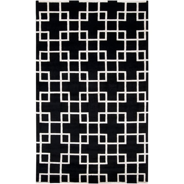 Hand-knotted 'Diego Martin' Black Geometric Wool Area Rug - 8' x 11'