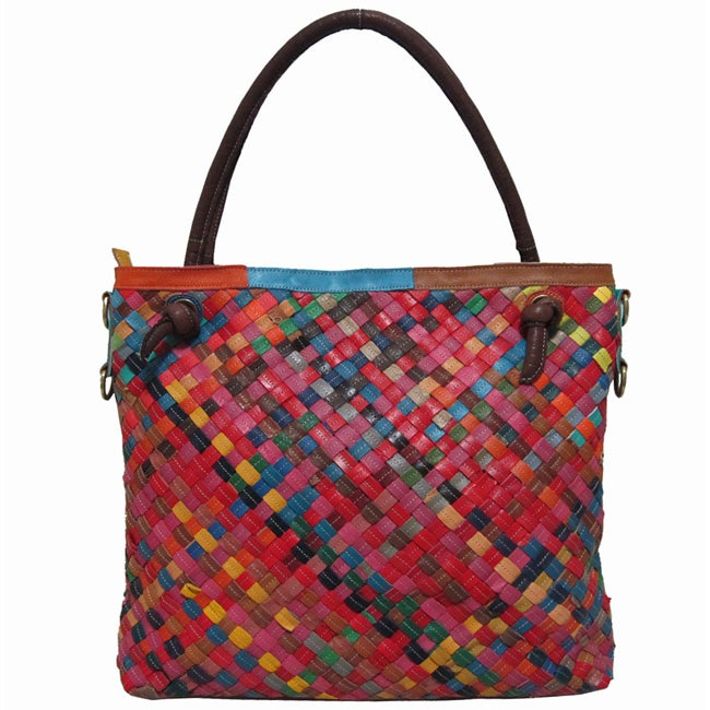Amerileather Rainbow Weaver Leather Tote Bag - Thumbnail 0