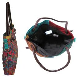 Amerileather Rainbow Weaver Leather Tote Bag