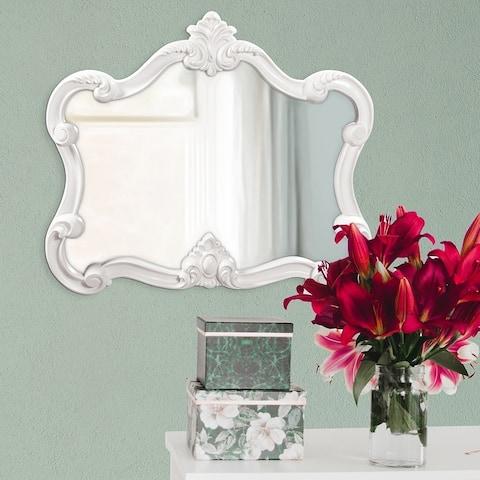 Glossy White Veruca Wall Mirror - 28 x 32