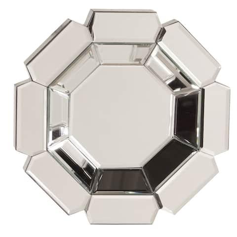Octagonal Flower Accent Mirror - Silver