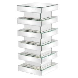 Stepped 28-inch Glass Mirror Pedestal