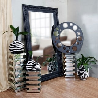 Stepped 28-inch Glass Mirrored Pedestal