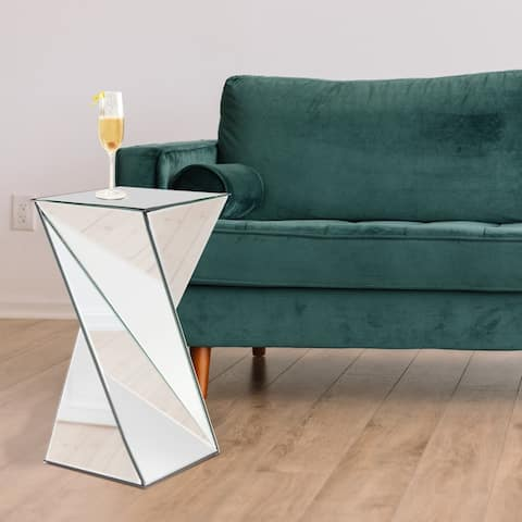 Twisted Glass Mirrored Pedestal Table