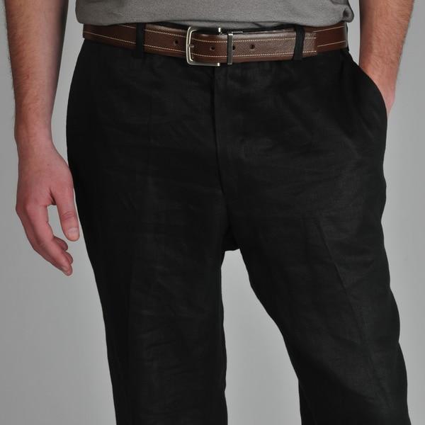 U and I Men's Black Linen Pants