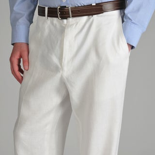U and I Men's White Linen Pants