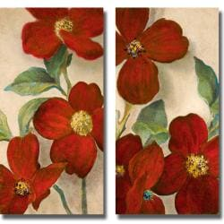 Lanie Loreth 'Bella Fiori Rossi I and II' 2-piece Canvas Art Set