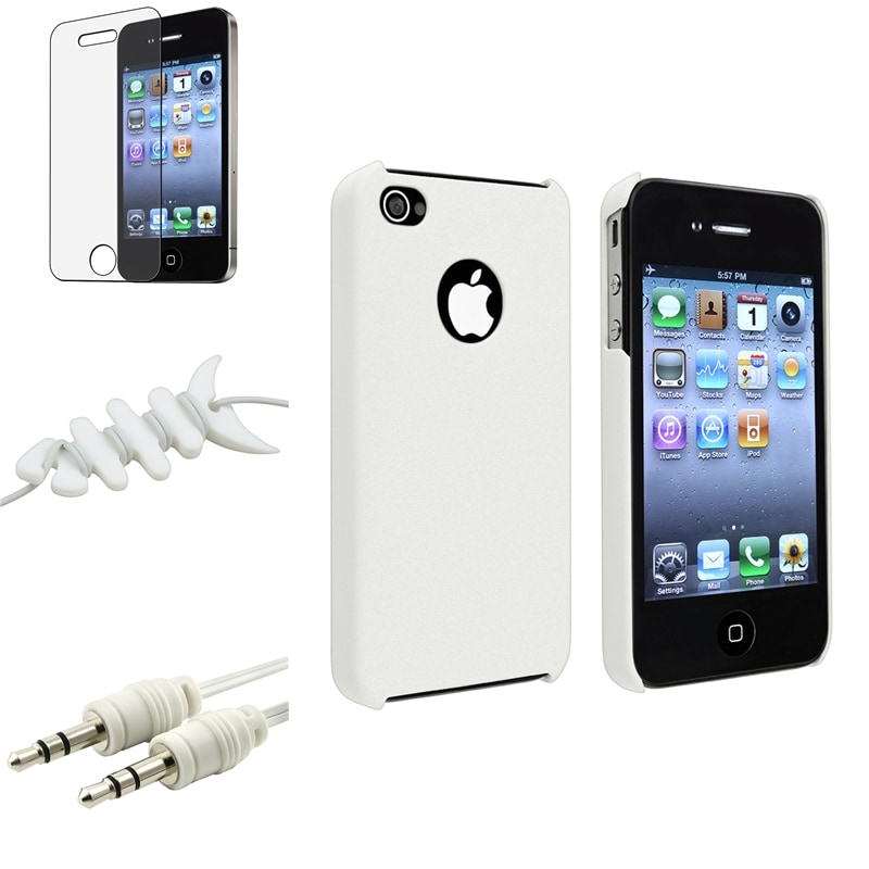 INSTEN White Case Cover/ Screen Protector/ Wrap/ Audio Cable for Apple iPhone 4/ 4S