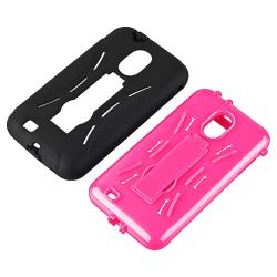 INSTEN Pink/ Black Hybrid Phone Case Cover with Stand for Samsung Epic 4G Touch D710 - Thumbnail 1