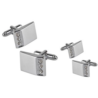 Zodaca Silver Rectangle Three Jewel Cufflinks (Set of 2)