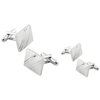 Zodaca Silver Square Diagonal Ribbed Cufflinks (Set of 2)