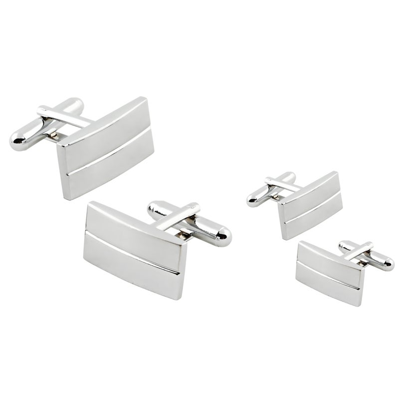 Zodaca Silver Rectangular Stripe Cufflinks (Set of 2)