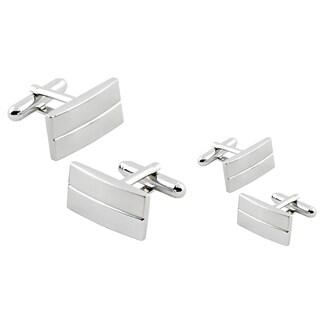 Zodaca Silver Rectangular Stripe Cufflinks (Set of 2)