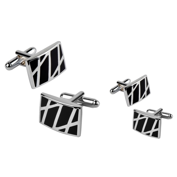 Zodaca Black/ Silver Rectangle Cufflinks (Set of 2)