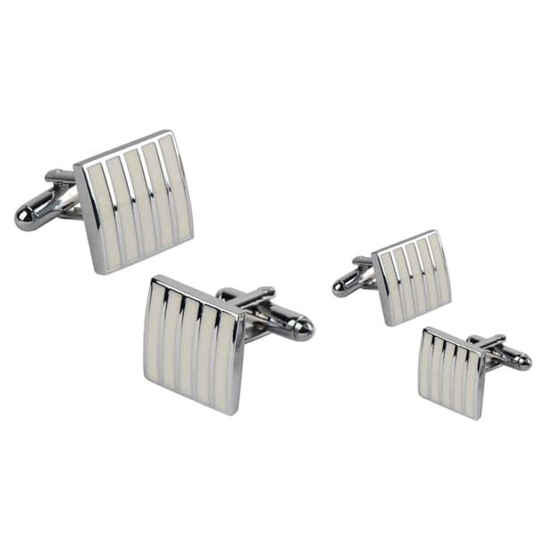Zodaca White Rectangle Cufflinks (Set of 2)