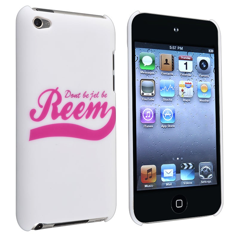 INSTEN White with Quote Rubber Coated iPod Case Cover for Apple iPod Touch Generation 4