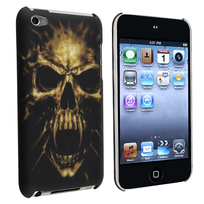 INSTEN Black/ Skull Rubber Coated iPod Case Cover for Apple iPod Touch Generation 4
