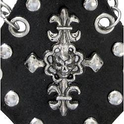 Carolina Glamour Collection Steel and Black Leather Charm, Chain and Fleur de Lis Cross Bracelet