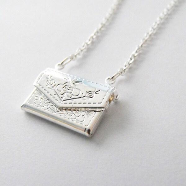 Silver Envelope Locket Necklace