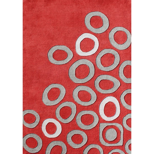 Alliyah Handmade Poppy Red New Zealand Blend Wool Rug (8 x 10)