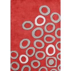 Alliyah Handmade Poppy Red New Zealand Blend Wool Rug (8 x 10)
