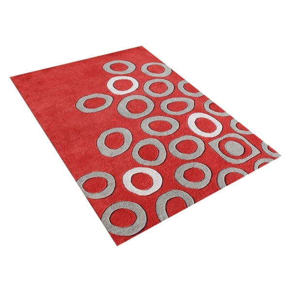 Alliyah Handmade Poppy Red New Zealand Blend Wool Rug - 8' x 10'