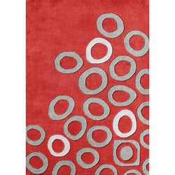 Alliyah Handmade Poppy Red, Silver Cloud, and White Sand New Zealand Blend Wool Rug (5' x 8')