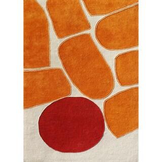 Alliyah Handmade Sand New Zealand Blend Wool Rug - 5' x 8'