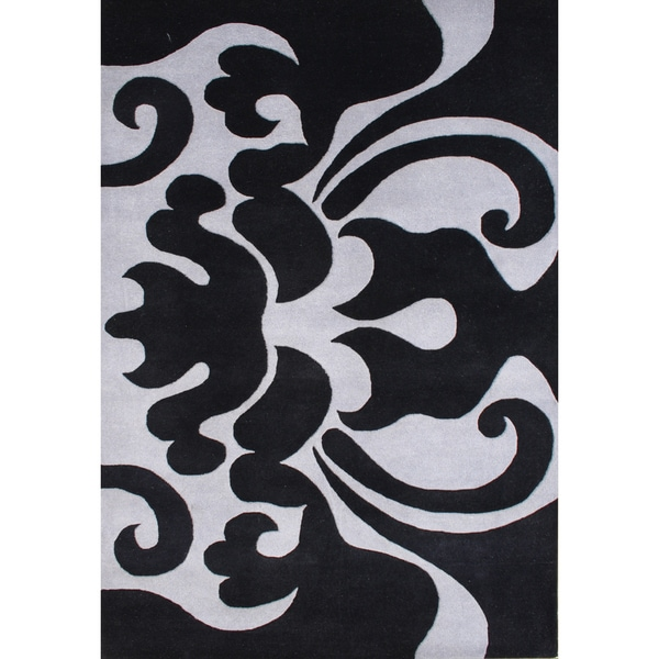 Alliyah Handmade Black New Zealand Blend Wool Rug (8 x 10)