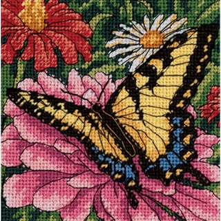 """Butterfly On Zinnia Mini Needlepoint Kit-5""""X5"""" Stitched In Floss"""