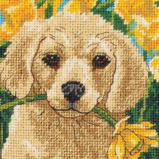 "Puppy Mischief Mini Needlepoint Kit-5""X5"" Stitched In Floss"