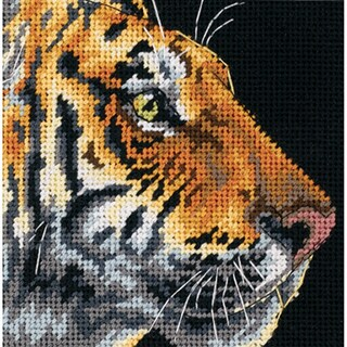 "Tiger Profile Mini Needlepoint Kit-5""X5"" Stitched In Thread"
