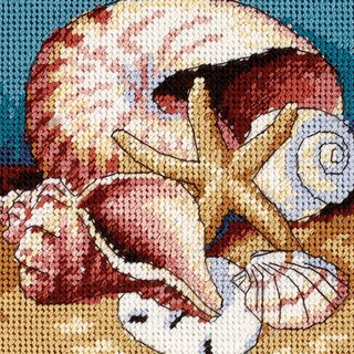"""Shell Collage Mini Needlepoint Kit-5""""X5"""" Stitched In Floss"""